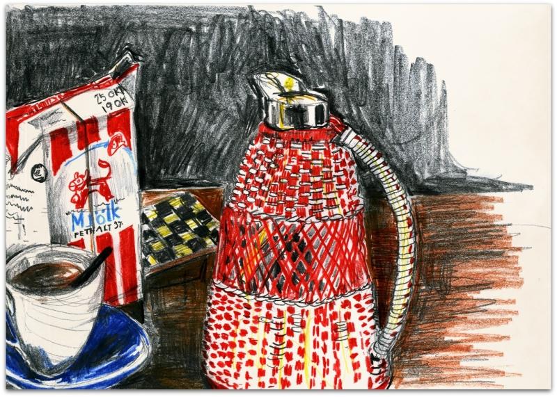 Tv-kanna och kopp Blå eld