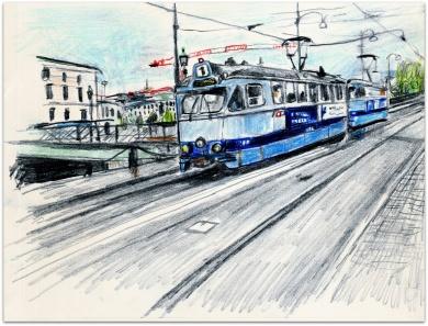 Ettans spårvagn  på Södra hamngatan