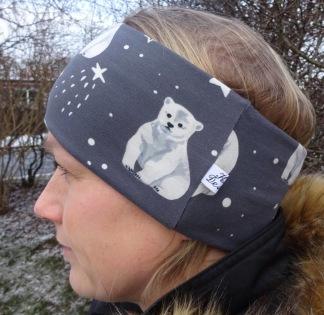 Isbjörn på Grå Botten Fodrat Pannband - För ungdom och vuxen