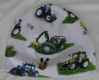 Traktor på vit botten - 34-38 cm. Ca: 0-3 månader