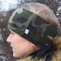 Camouflage Grön Fodrat Pannband