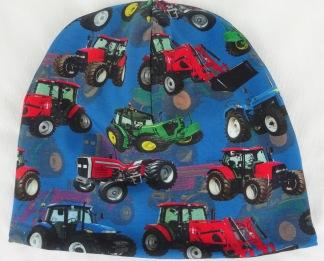Traktor på blå botten Fodrad - 34-38 cm.  Ca: 0-2 månader