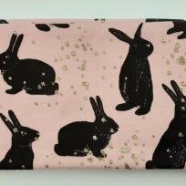Kanin med glitter Puderrosa Fodrat pannband