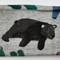 Fantasi Björn grå botten Fodrat pannband