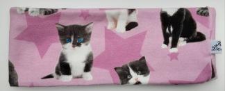 Katter på rosa botten Fodrat pannband - Barn upp till 4 år