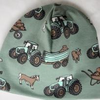 Traktor ,Häst,Får på grön botten