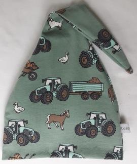 Traktor,häst,får på grön botten - 34-38 cm. Ca: 0-3 månader