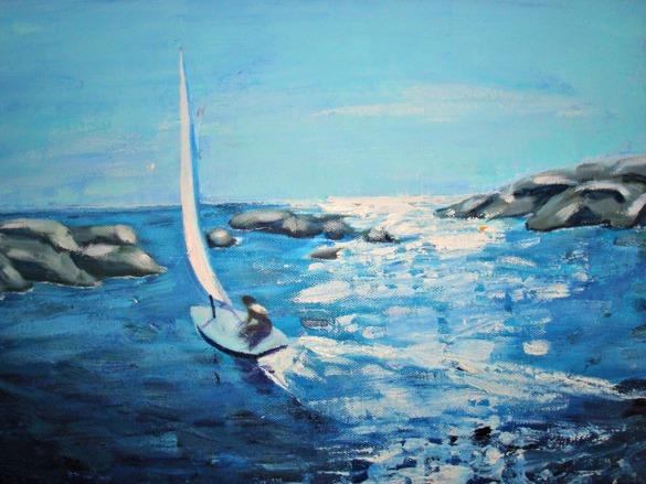 En solig dag på kusten, olja på duk, 50x60