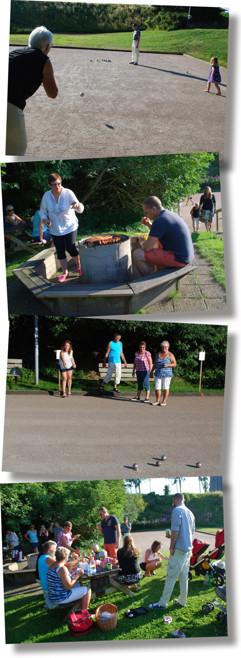 Styrelsen med familjer samlades för att spela boule i juli 2013.