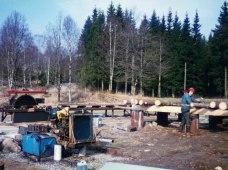 Året är 1995 och pappa hjälpte mig att såga de första stockarna till bygget av sågen.