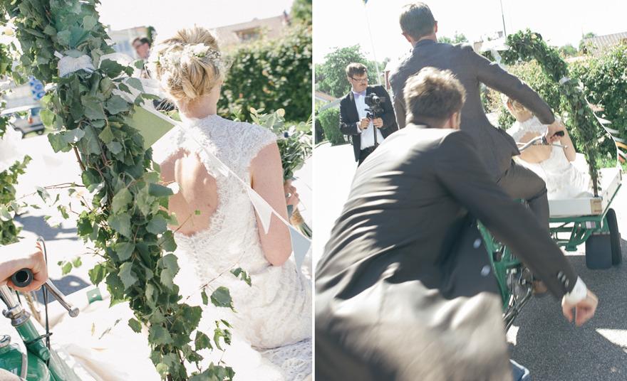 Flakmoppe som färdmedel på bröllop