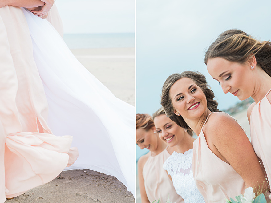 Bride and her bridesmaids on the beach. Photo Rebecca Wallin