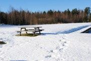 Ett ensamt picknickbord