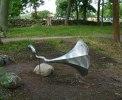 Skulptur i rostfritt. Gjord åt Joanna Eriksson, Kalmar. i samarbete med Svenssons legosvets