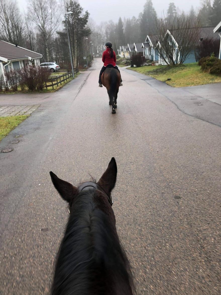 Ritt genom byn med Emma på juldagen