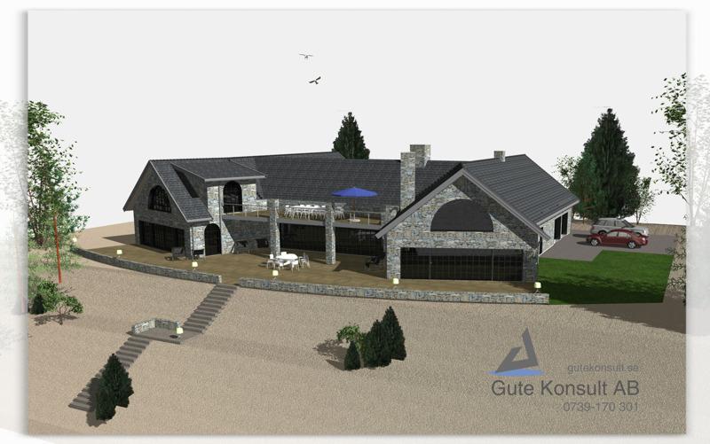 Fritidshus i Tofta, ritat och 3-D visualiserat av Gute Konsult AB