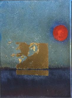 Såld. Pure gold II. Olja bladguld på duk. Mått: 18 x 24 cm.