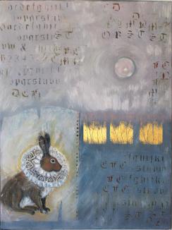 Harens år. Olja,bladguld på duk. Mått: 60 x 80 cm.