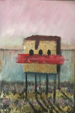 Såld. Hus i rosa. Olja,bladguld på duk. Mått: 21 x 31 cm.