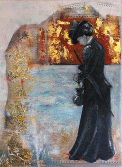 Fröken Frimans krig. Olja, bladguld på duk.  Mått: 60 x 80 cm.