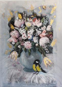 Fågel, fisk och mittemellan. Olja/bladguld på duk. Mått: 60 x 80 cm.