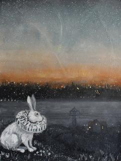 Hare med utsikt. Olja/bladguld på duk. Mått: 60 x 80 cm.