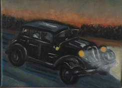 Citroën. Olja på duk. Mått: 24 x 18 cm.