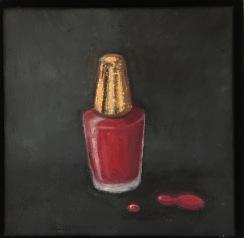 Nagellack. Olja, bladguld på duk. 20 x 20 cm