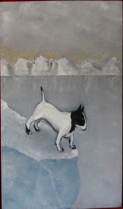 Bullterrier lost in space. Olja på duk.  Mått: 46 x 80 cm.