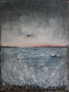 Vid havet. Olja på duk. Mått: 60 x 80 cm