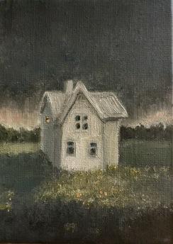 Såld. Hus vid myren. Olja, bladguld på duk.  Mått: 16 x 22 cm.
