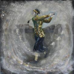 Cecil Leitch 1922. Olja, bladguld på duk. Mått: 80 x 89 cm.