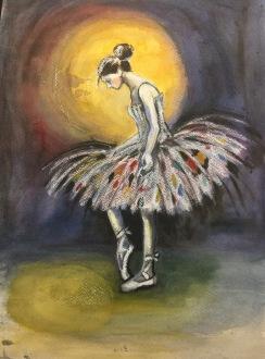 Såld. Ballerina. Akvarell, pastell på akvarellpapper. A3 fromat.