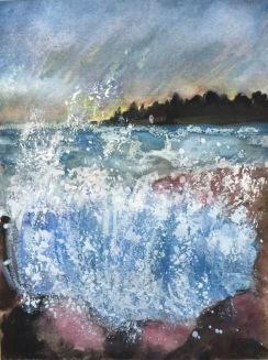 Stänka av hav. Akvarell, pastellkrita. 21 x 28 cm.