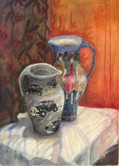 Kannor med innehåll. Akvarell och pastellkrita: Mått: 54 x 74 cm