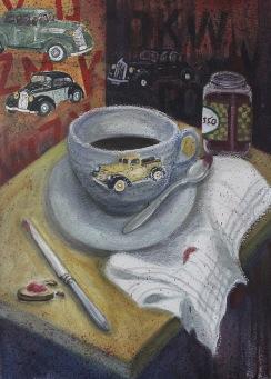 Frukost. Akvarell, pastell.  Mått: 54 x 74 cm.