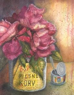 Återbruk. Akvarell, blandteknik. Mått:  50 x 67 cm