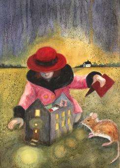Vem bor här? Akvarell, blandteknik. Mått: 50 x 70 cm.