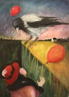 Flickan, kråkan och ballongerna. Akvarell, blandteknik. Mått: 50 x 70 cm.