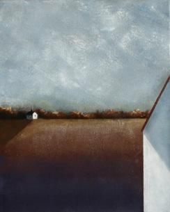 Såld: Sent i september. Olja bladguld på duk.  Mått: 34 x 41 cm.