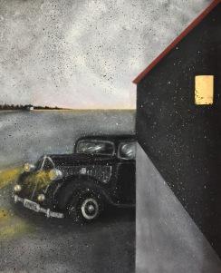 DKW 1936. Olja, bladguld på duk. Mått:  73 x 60 cm