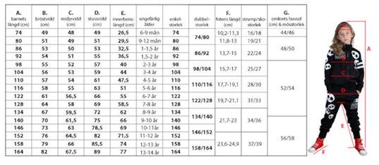 converse storlekar tabell