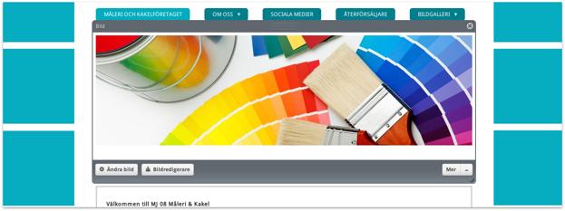 Klicka på bilden för att se den färdiga hemsidan.