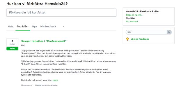 Hemsida24, feedback