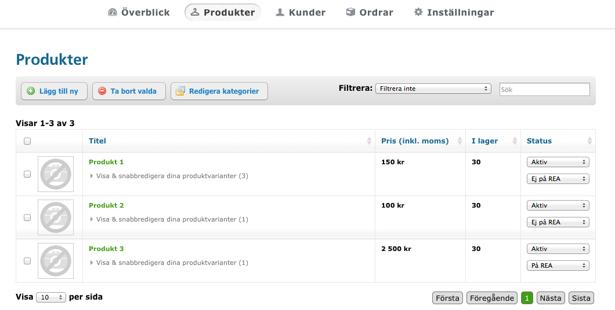 Hemsida24, produktlista, e-butik, produkter