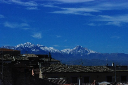 Utsikt från takterassen. Grand Sasso, 2 970 meter över havet.