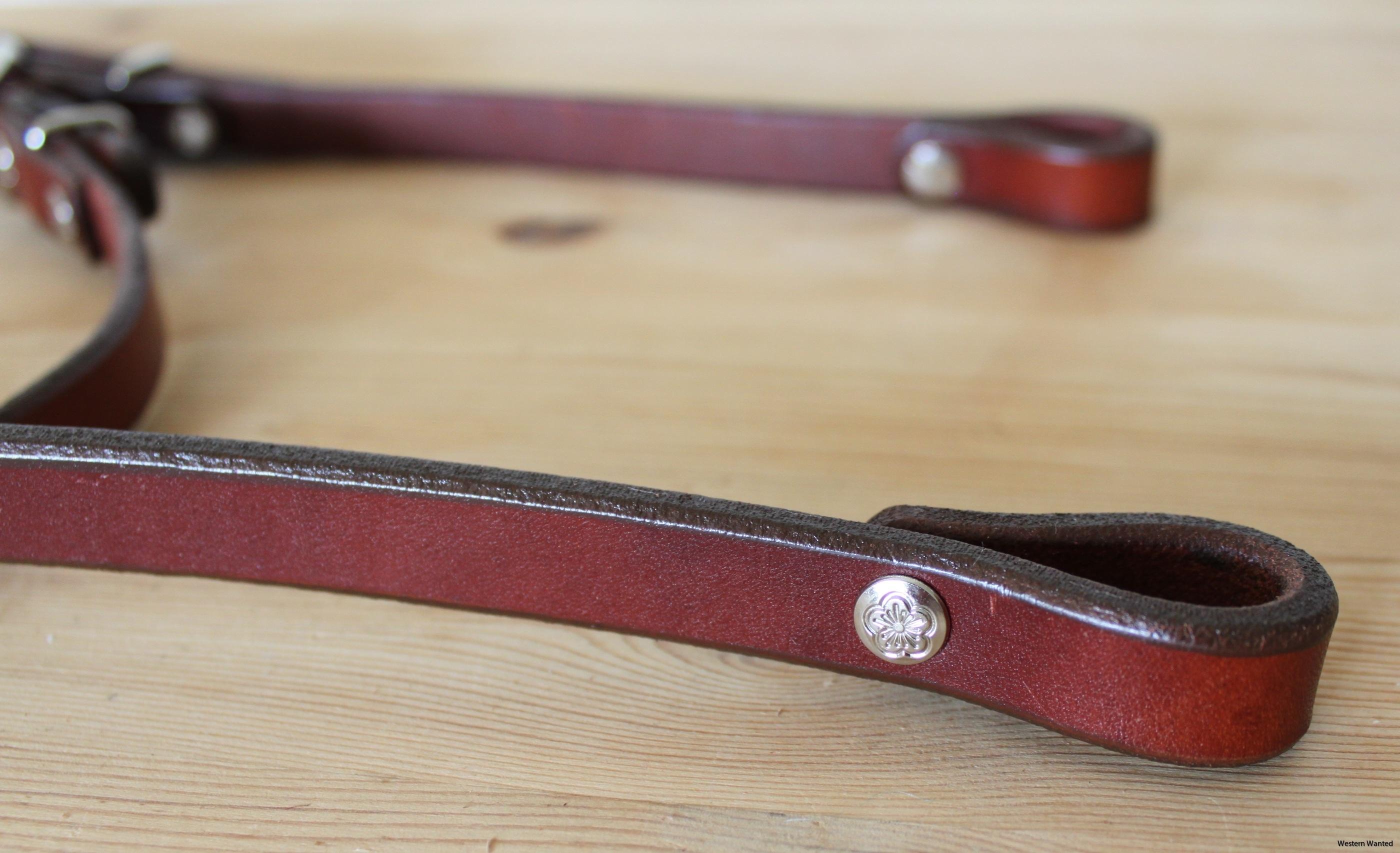 Western träns/ huvudlag i rödbrunt läder.