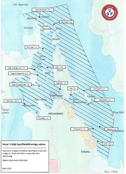 Karta över fiskeplatser med vasar