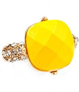 Maffig solgul ring med kristaller