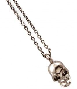 Dödskalle halsband i silver oxiderat silver